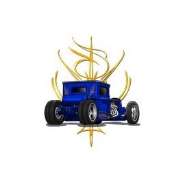 Koszulka auto Pinstripe Blue Hot Rod